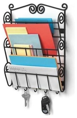 Scroll Wall Mount Letter Holder and Key Rack, Black - Modern - Storage And Organization - by ...