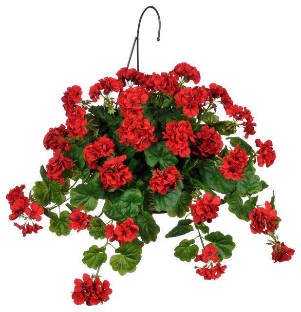 Artificial red geranium hanging basket traditional artificial plants