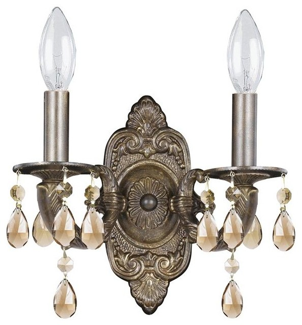 Crystorama Sutton 2 Light Golden Teak Elements Crystal Bronze Sconce - Traditional - Wall ...