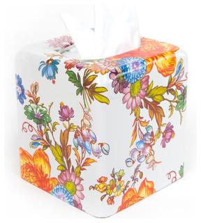 Flower Market Enamel Tissue Box Cover - White | MacKenzie-Childs ...