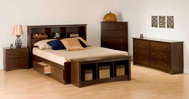 4pc double size bedroom set in espresso modern bedroom furniture sets