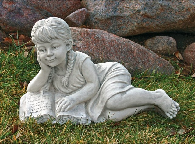 Design Toscano Reading Rebecca Garden Scholar Statue