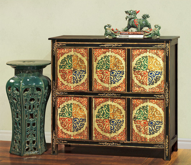 Hand painted tibetan chest asian chicago by china for Hand painted oriental furniture
