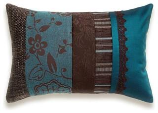 Teal Blue Chocolate Brown Lumbar Pillow Case 12 X 18 In
