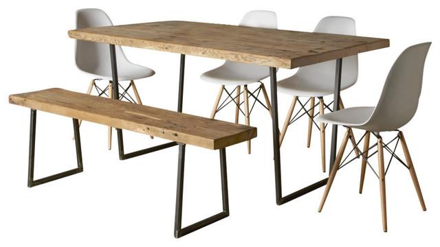 Brooklyn Modern Rustic Reclaimed Wood Dining Table Thick 60x30 Contempora