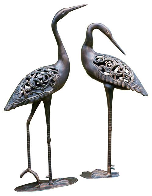 Borealis Cast Aluminum Garden Crane Duo Mediterranean Garden Statues And Yard Art By Sirio
