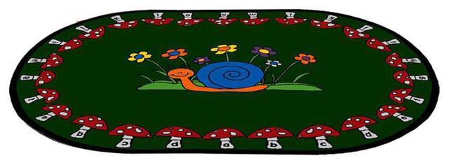 Mushroom Seating Oval Kids Area Rug 6x8 5 Feet Modern