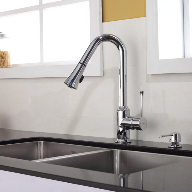Kraus Single Lever Pull Out Kitchen Faucet Chrome Kpf 1650ch Modern Kitchen Faucets New