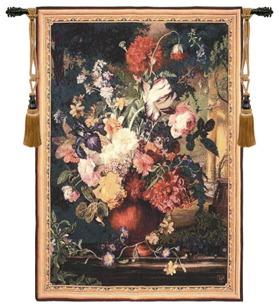 """Bouquet Flamand European Tapestry Wall Hanging, 44""""x33 ..."""