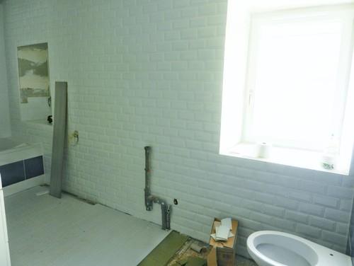 Avant apr s transformation d 39 une salle de bains en for Peindre carrelage salle de bain avant apres