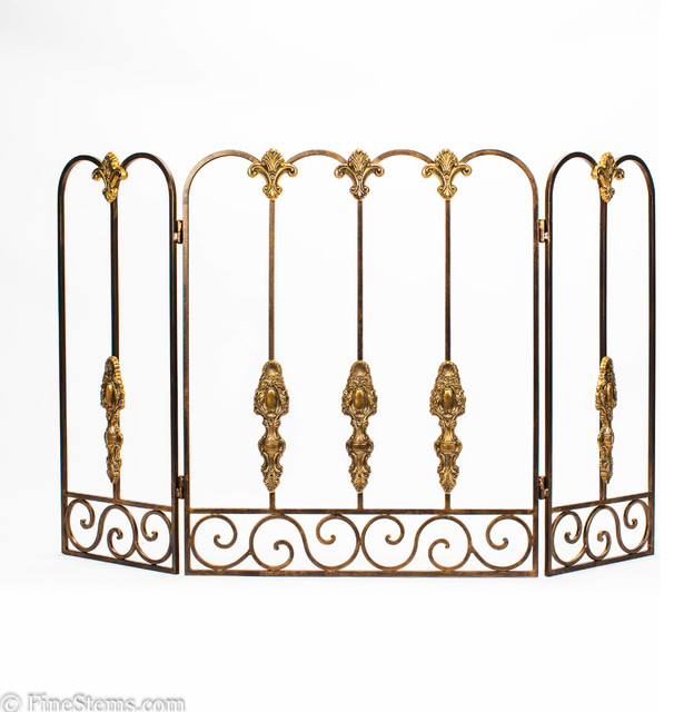 Bronze Tuscany Fireplace Screen Traditional Fireplace Screens Chicago By Finestems