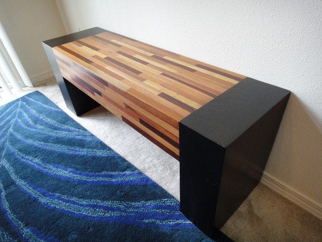 Modern Zen Mixed Wood Handcrafted Bench Asian Indoor