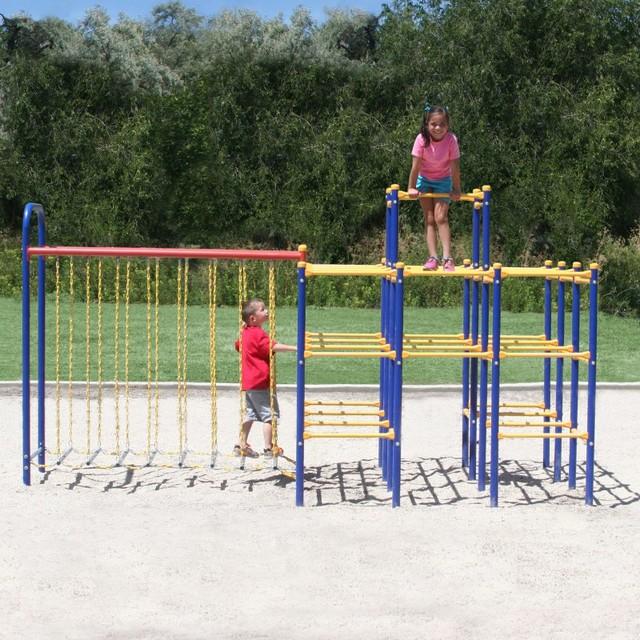 Skywalker sports modular jungle gym hanging bridge for Swing set bridge