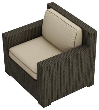 Hampton Modern Wicker Club Chair Chocolate Wicker Beige Cushions Contempor