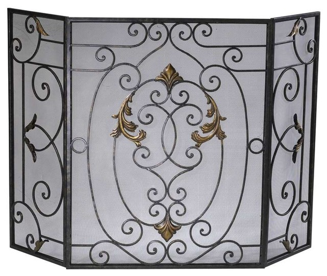 Cyan design french fire screen rust with gold accents traditional fireplace screens by - Houzz fireplace screens ...