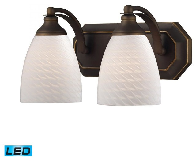 Two Light Aged Bronze White Swirl Glass Vanity - Tropical - Bathroom Vanity Lighting - by We Got ...