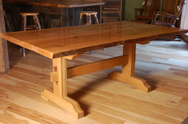 Live edge dining tables with trestle base rustic dining tables other metro by corey - Kitchen table bases ...
