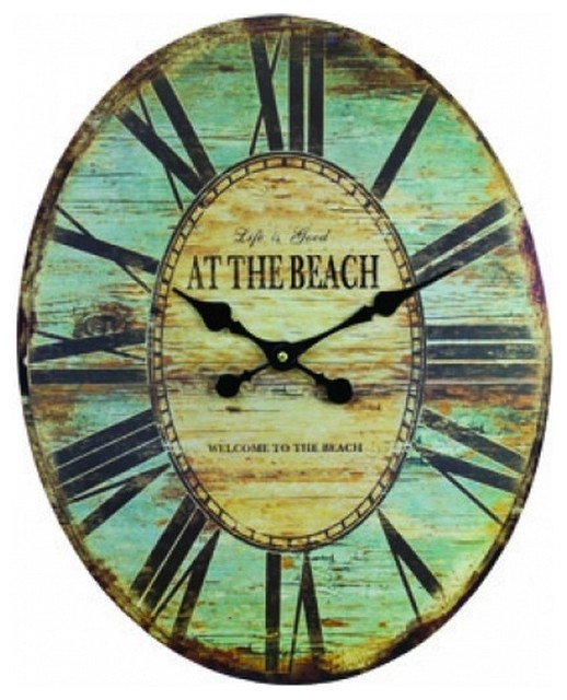 wooden vintage at the beach wall clock 19 39 39 beach living room decor nautica beach style. Black Bedroom Furniture Sets. Home Design Ideas