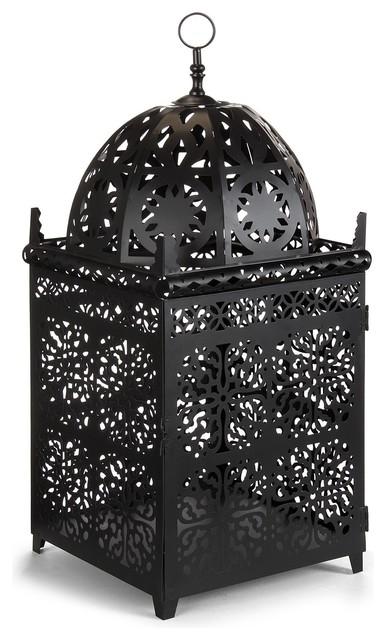 Maroco lanterne en m tal noir h55cm contemporain for Lampe exterieure contemporaine