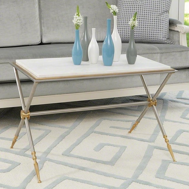 Global Views Campaign Cocktail Table In Nickel And White Marble Contemporary Coffee Tables