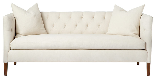 Nell midcentury ivory tufted feather down straight sofa for Button tufted chaise settee velvet aubergine