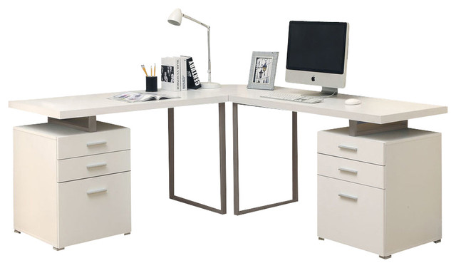 Monarch specialties i 7027 3 white 3 piece hollow core l White l shaped desk
