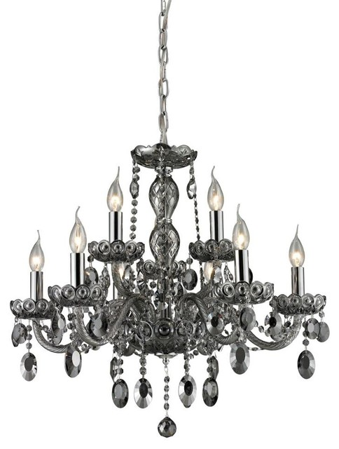 Elk lighting 80043 6 3 balmoral nine light crystal chandelier traditional chandeliers by - Traditional crystal chandeliers ...