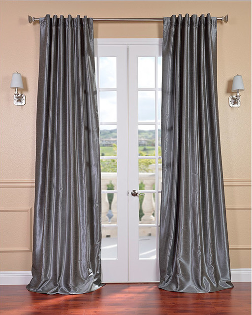 storm grey vintage faux textured dupioni silk curtain