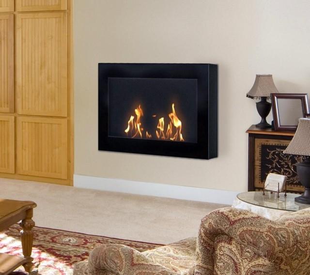 Soho black indoor wall mounted biofuel fireplace contemporary indoor fireplaces portland - Contemporary fireplaces wall mounted ...