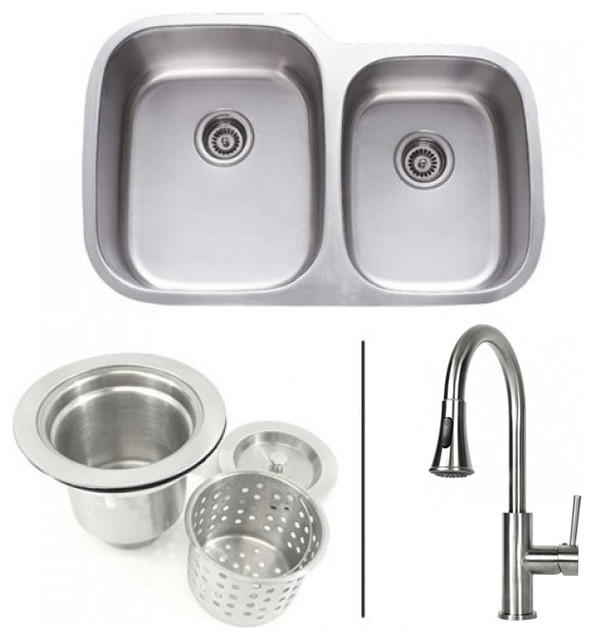 Stainless Steel Sink Table Combo : Stainless Steel Double Bowl Kitchen Sink and Lead Free Faucet Combo ...
