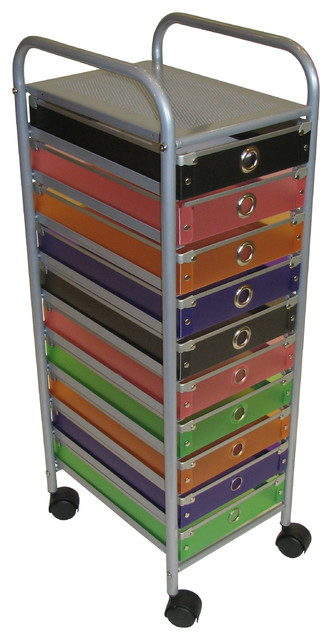 4D Concepts 10-Drawer Rolling Storage in Multi Color Drawers - Modern - Office Carts And Stands ...