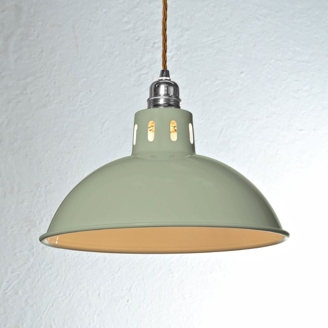 Factory Pendant Light Olive Green Vintage Industrial