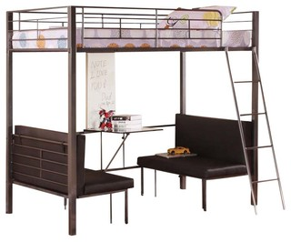 Twin size metal bunk loft bed with adjustable seat desk and attached ladder contemporary - Beds with desks attached ...