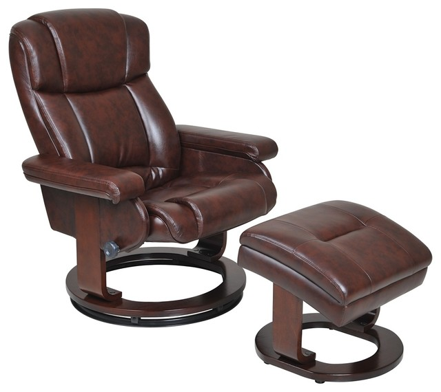 Serta Biscuit Cherry Recliner And Storage Ottoman Contemporary Living Room Ch