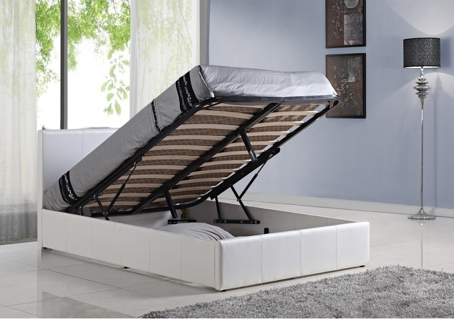 Bonsoni simple style double berlin ottoman bed frame white for White double divan bed