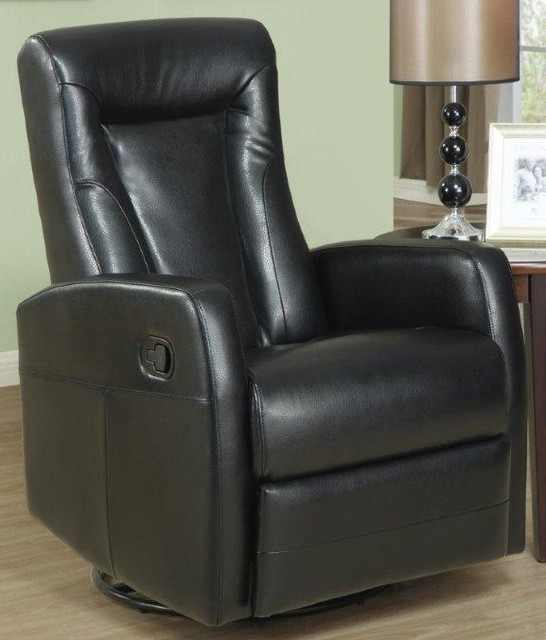 Swivel Glider Recliner Black Contemporary Living Room Chairs By ShopL