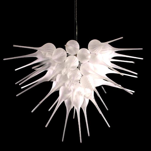 Modern Chandeliers Nyc: Modern Blown Glass Flower Chandelier