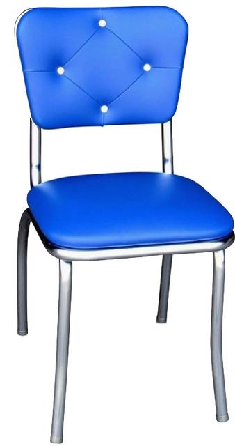Tufted Retro Kitchen Chair Royal Blue Midcentury