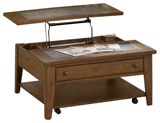 Liberty Furniture Hearthstone 38 Inch Square Lift Top Cocktail Table In Oak Traditional
