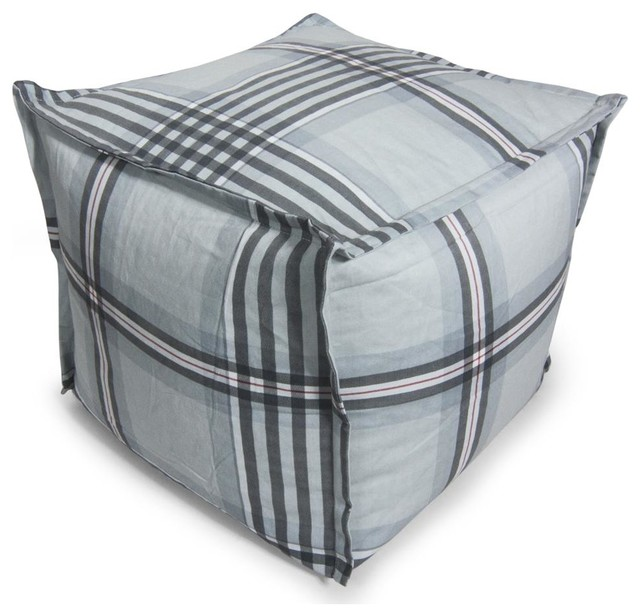 bean bag ottoman in grey gingham plaid contemporary. Black Bedroom Furniture Sets. Home Design Ideas