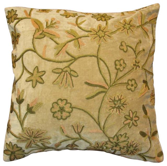 Cotton Velvet Decorative Pillows : Crewel Pillow Fulmaal Chocolate Cotton Velvet 20x20 Inches - Traditional - Decorative Pillows ...