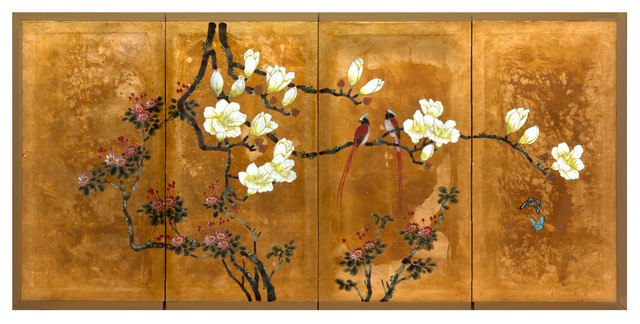 Love Birds On Traditional Gold Leaf Asian Artwork By