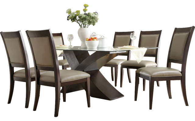 7 piece glass dining room set ] - gallery image of 7 piece glass