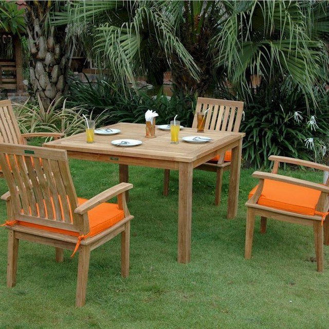 Contemporary Outdoor Dining Sets: Anderson Teak 4-Person Teak Patio Dining Set