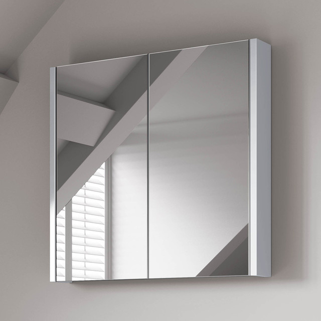 600mm gloss white double door mirror cabinet