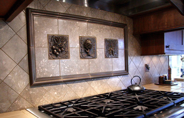 kitchen backsplash mosaic and metal accent mural Stone Backsplash Murals Stone Backsplash Murals