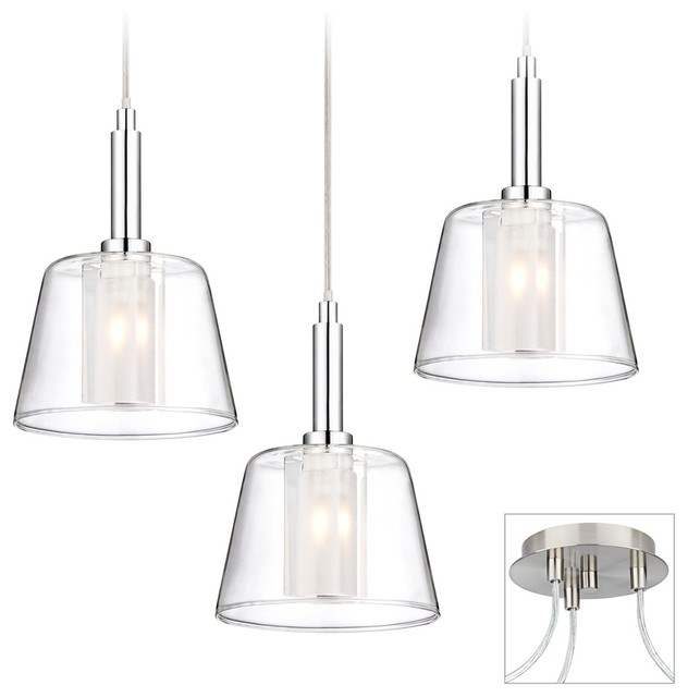 Double Glass Brushed Nickel Chrome 3 Light Multi Pendant Contemporary Chandeliers on farmhouse decor