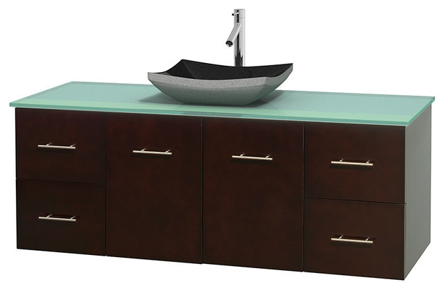 "60"" Single Bathroom Vanity, Green Glass Countertop, Sink ..."