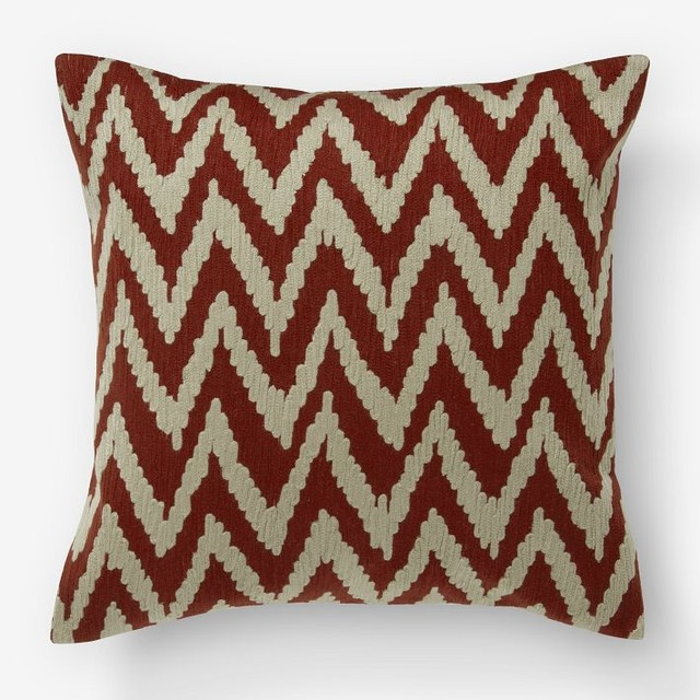 Chevron Crewel Pillow Cover, Ginger/Straw - Eclectic - Decorative Pillows - by West Elm