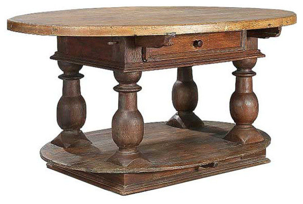 Swedish Baroque Oval Pine Birch Table Rustic Side Tables And End Tables Denver By Eron